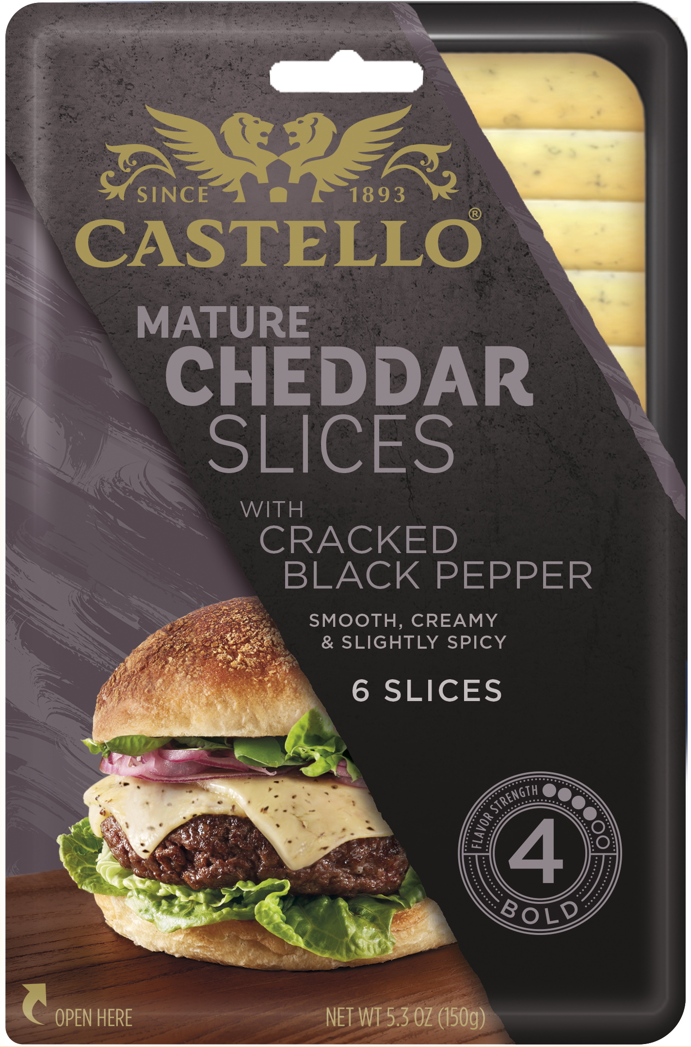 Castello® Cheddar with Cracked Black Pepper Slices